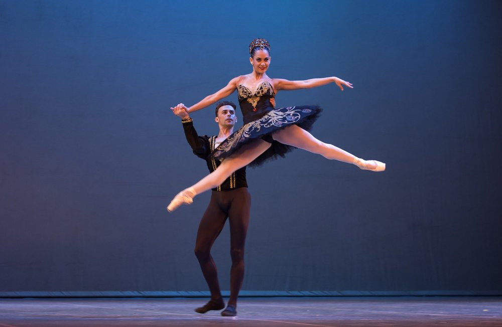Cuban expatriate ballet dancers Taras Domitro and Adianys Almeida, top, perform in Havana, Cuba.