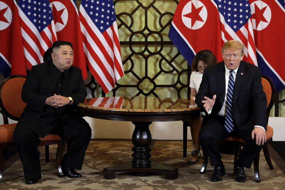 On February 28, U.S. President Donald Trump, right, meets North Korean leader Kim Jong Un in Hanoi, Vietnam.