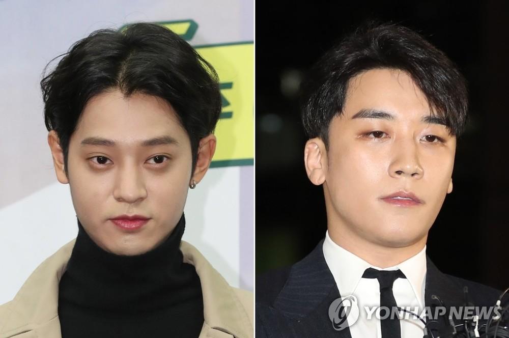 TV celebrity and singer Jung Joon Young, left, and Bigbang member Seungri