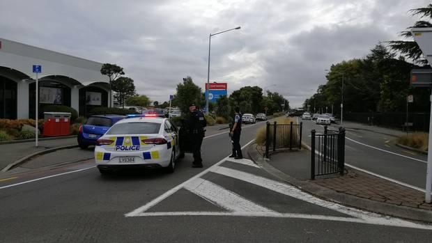 Armed police on Langdons Road in Papanui.