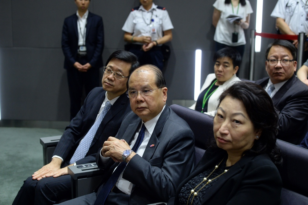 From left: Secretary for Security John Lee Ka-chiu, Chief Secretary for Administration Matthew Cheung Kin-chung, Secretary for Justice Teresa Cheng Yuek-wah