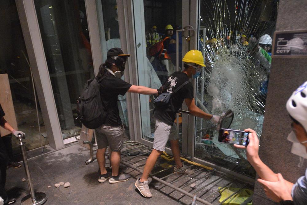 Some protesters break into the Legislative Council last night.
