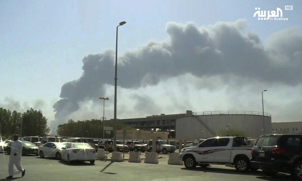 The Abqaiq oil processing facility is on fire Saturday in Buqyaq, Saudi Arabia.