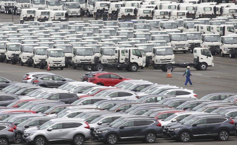 Honda cars, foreground, for export park at Yokohama port, near of Tokyo in Tokyo. (AP photo)