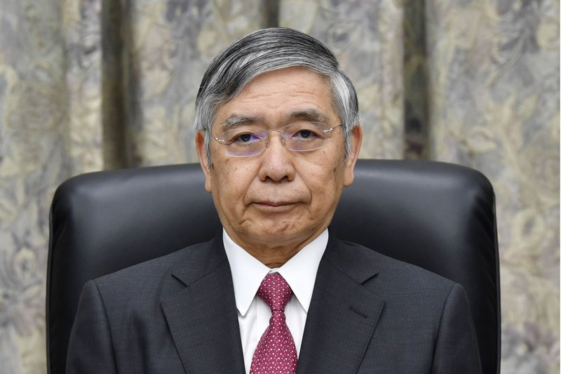 Bank of Japan Governor Haruhiko Kuroda attends a meeting at its headquarters in Tokyo. (Kyodo News via AP)