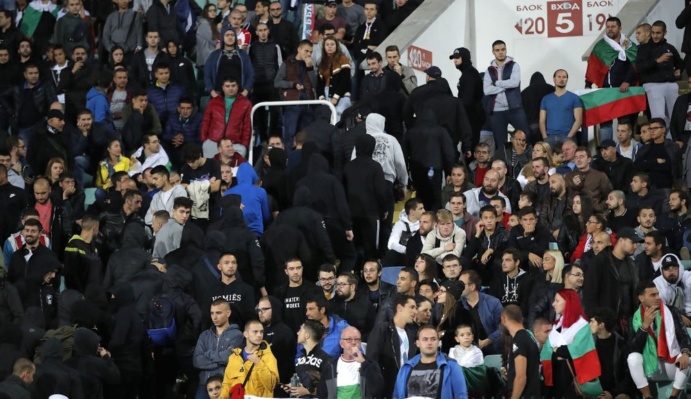 Bulgarian fans leave the stadium. (AP photo)