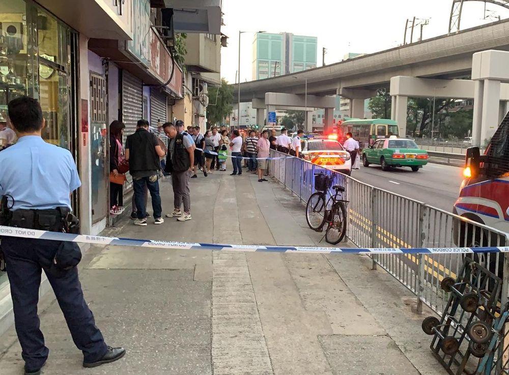 Police cordon off the scene.
