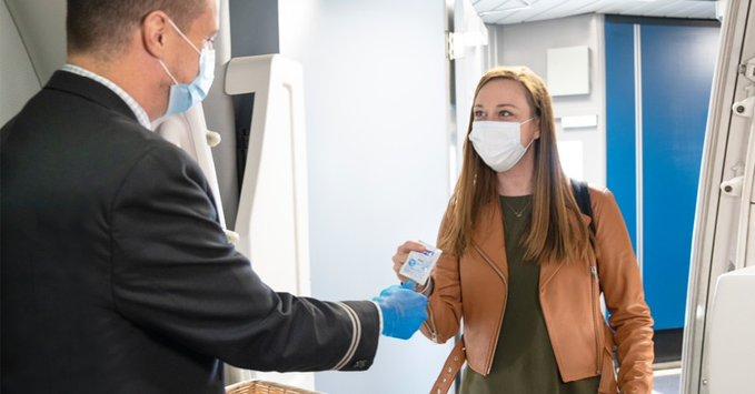 United Arirlines is providingindividual hand sanitizer wipes on board.