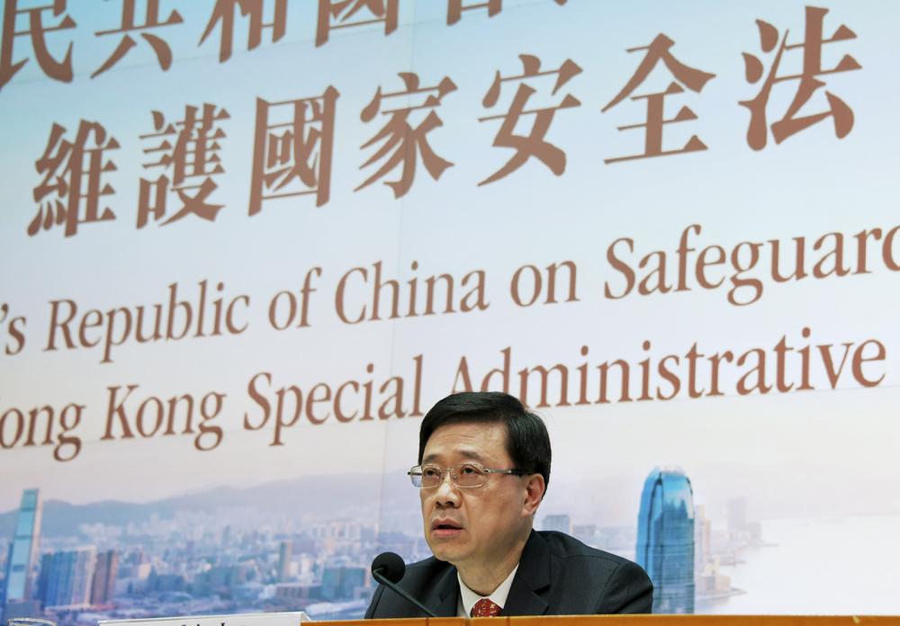 Secretary for Security John Lee Ka-chiu slammed Washington used Hong Kong's national security act as an excuse to impose sanctions. File Photo.
