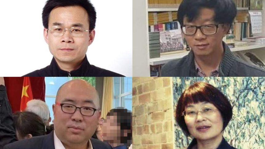 Australia has revoked the visas of Chinese scholars Li Jianjun, top left,and Chen Hong, top right,and media officials Li Dayong, bottom left,and Tao Shelan bottom right.