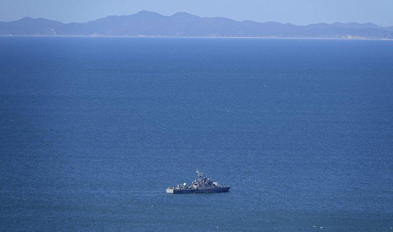 A South Korean navy ship is seen near Yeonpyeong island, South Korea, Friday.