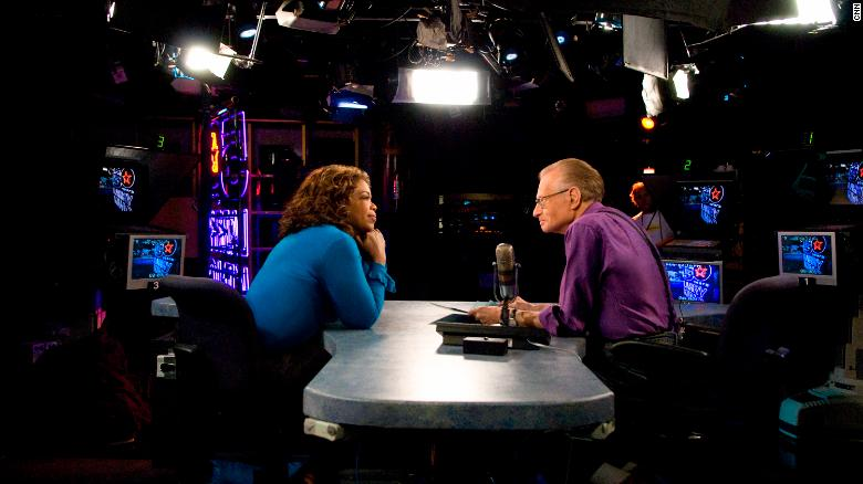 Larry King in conversation with Oprah Winfrey in 2007.
