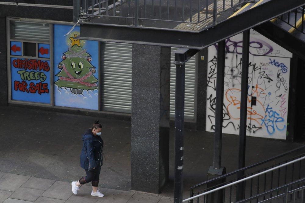 Closed shops, in Waterloo in London, Saturday, January 23, 2021 during England's third national lockdown since the coronavirus outbreak began.