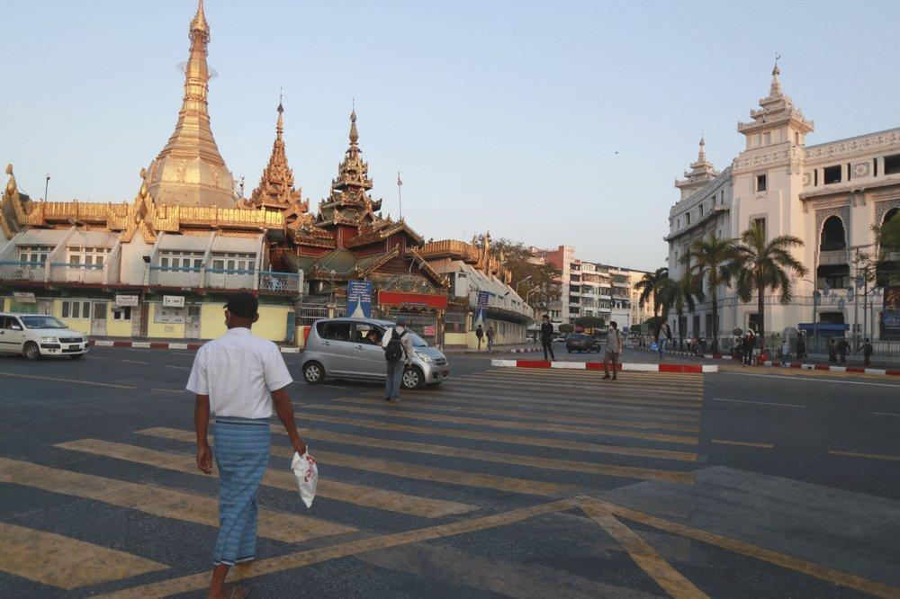 Activity near Sule Pagoda Monday, February1, 2021 in Yangon, Myanmar.