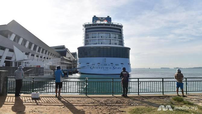 Royal Caribbean International's Quantum of the Seas, dockedat the Marina Bay Cruise Centre, December 9, 2020.