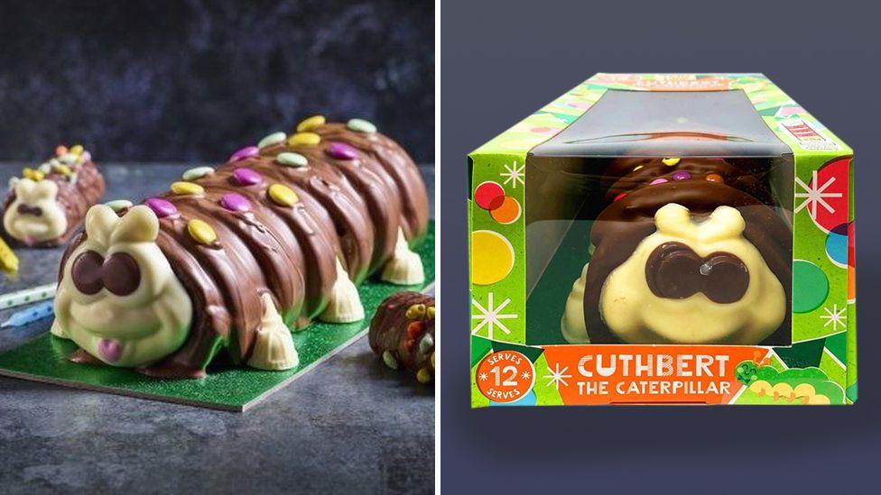 Colin and Cuthbert caterpillar cakes.