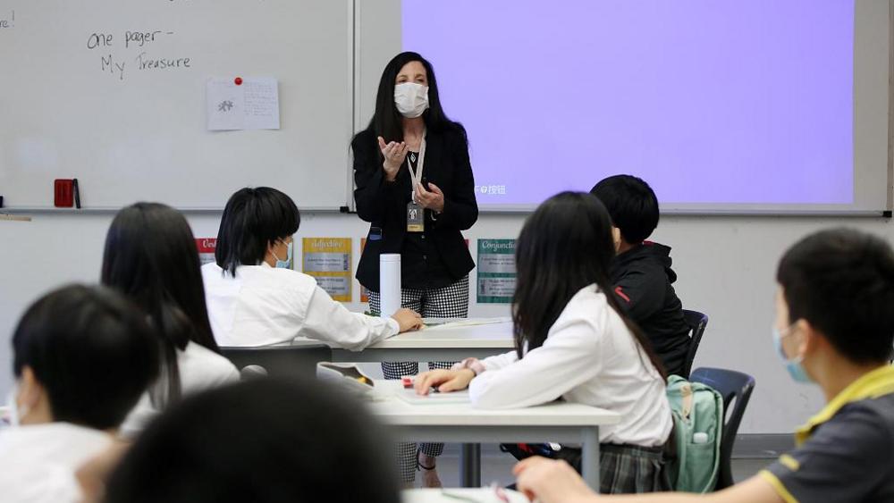 A foreign teacher in aShanghai school, seen on June 1, 2020.