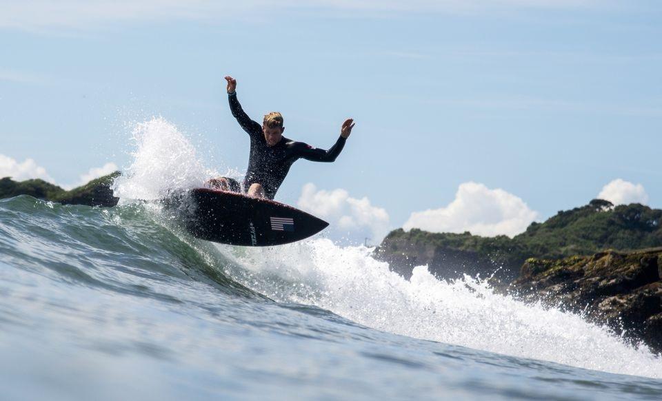 John John Florence of the United States during training in Tsurigasaki Surfing Beach of Tokyo.