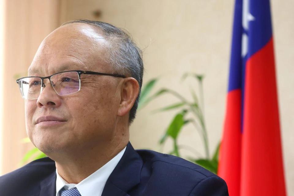 Taiwan's Chief trade negotiator John Deng looks on as he speaks to the media in Taipei.
