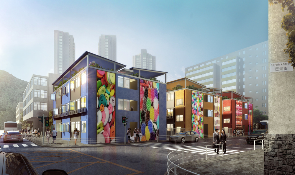 An artist impression of prefabricated modular housing blocks to be built in Sham Shui Po.