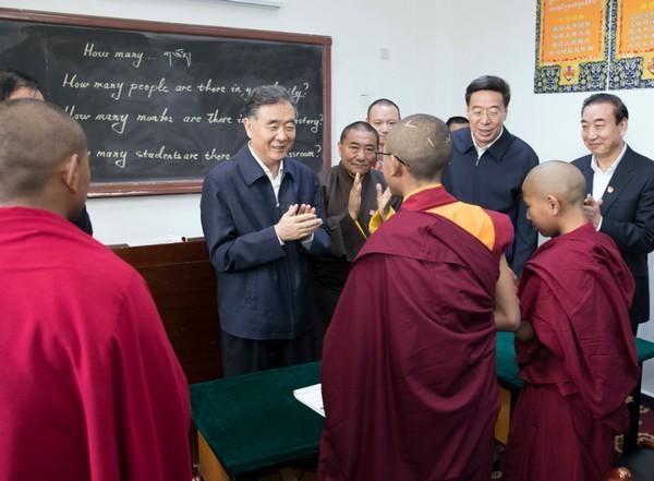 Wang Wang visits the Tibet Buddhist Theological Institute in Tibet.  AP