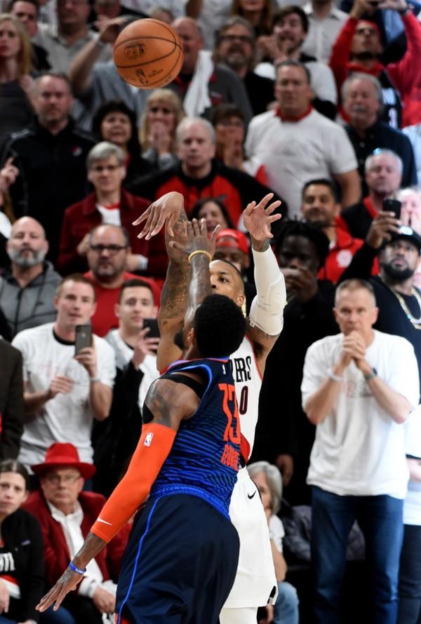 db0b5800cb9 After Damian Lillard hit a three-pointer to send the Portland Trail Blazers  along in the NBA playoffs