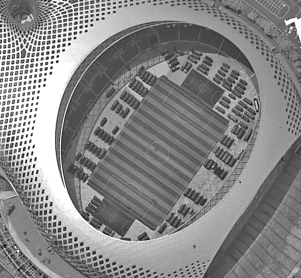 A satellite photo of the Shenzhen Bay Sports Center.SING TAO