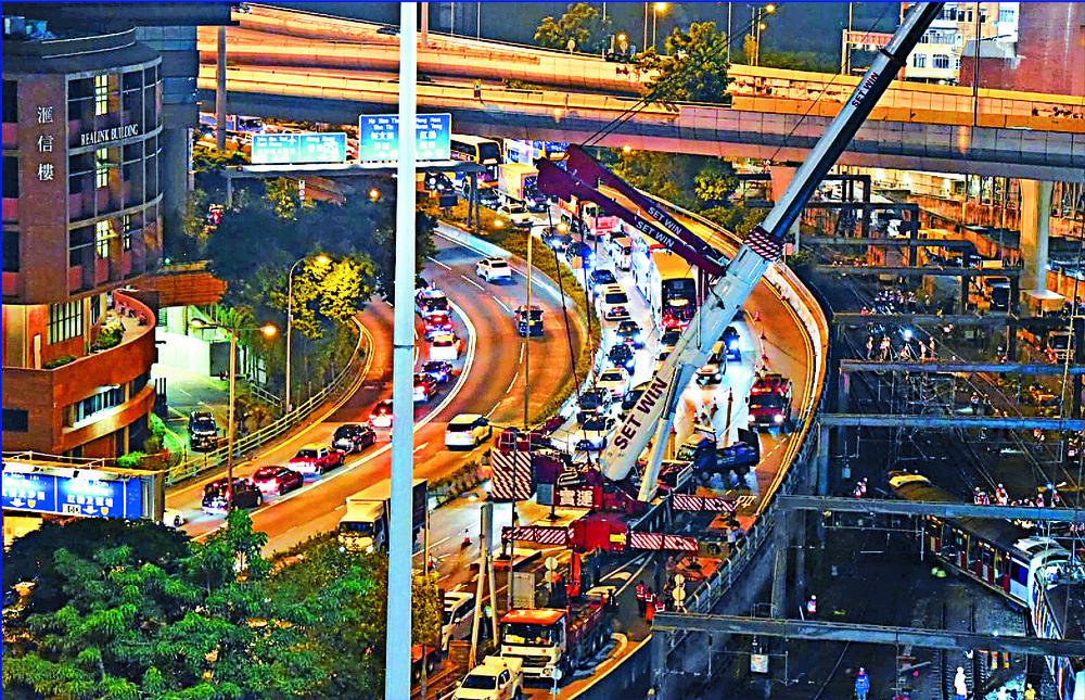 Congestion on Hong Chong Road as repair works begin.