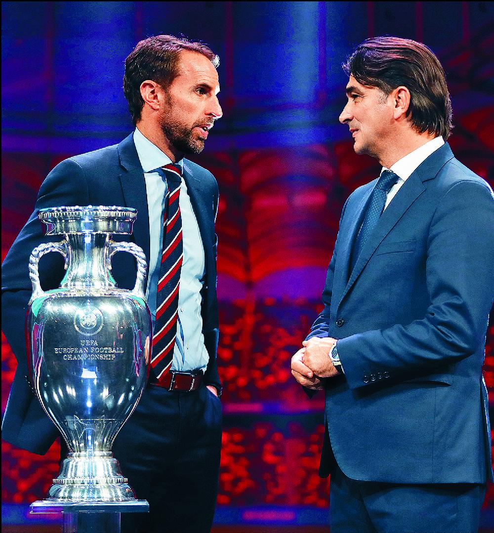 Gareth Southgate, left, with Croatia coach Zlatko Dalic, relishes Euro tie.  GETTY IMAGES