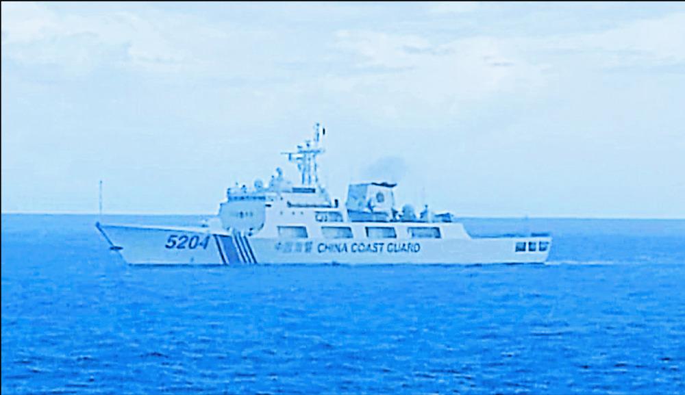 A Chinese Coast Guard ship sails in North Natuna Sea. AP