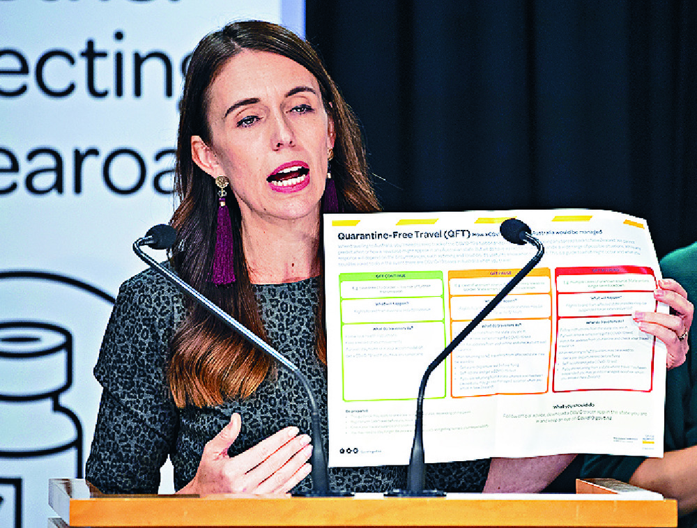 Jacinda Adern announces a quarantine-free travel bubble between New Zealand and Australia.