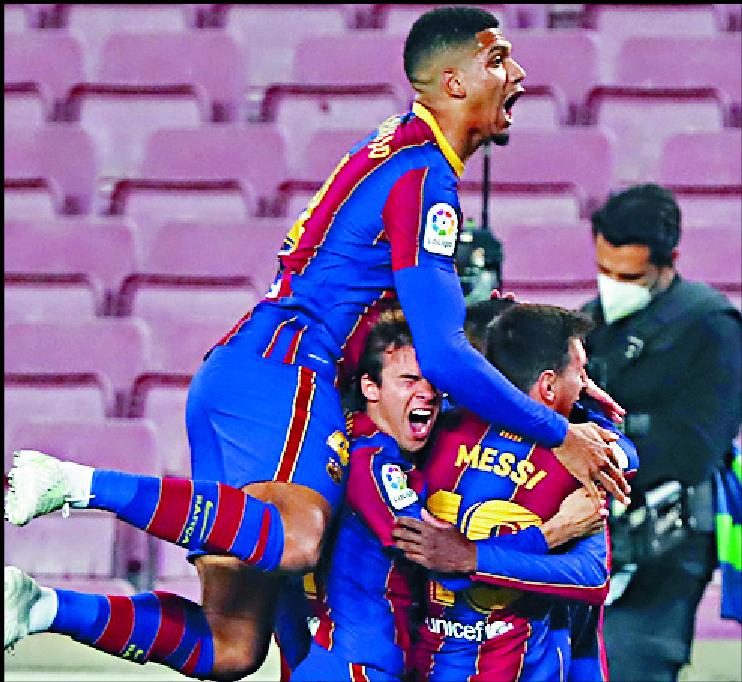Barca celebrate Ousmane Dembele's winning goal.  AP