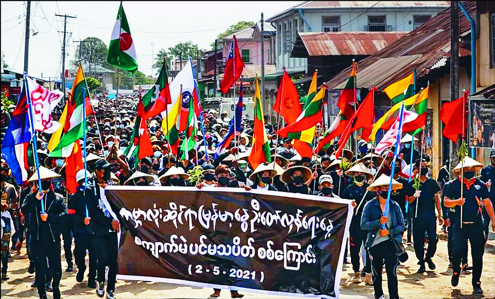 Street protests mark the 'Global Myanmar Spring Revolution Day'.  AFP