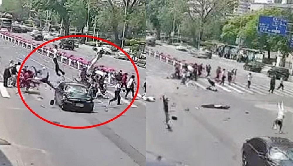 Video grabs show a black car driving into pedestrians.