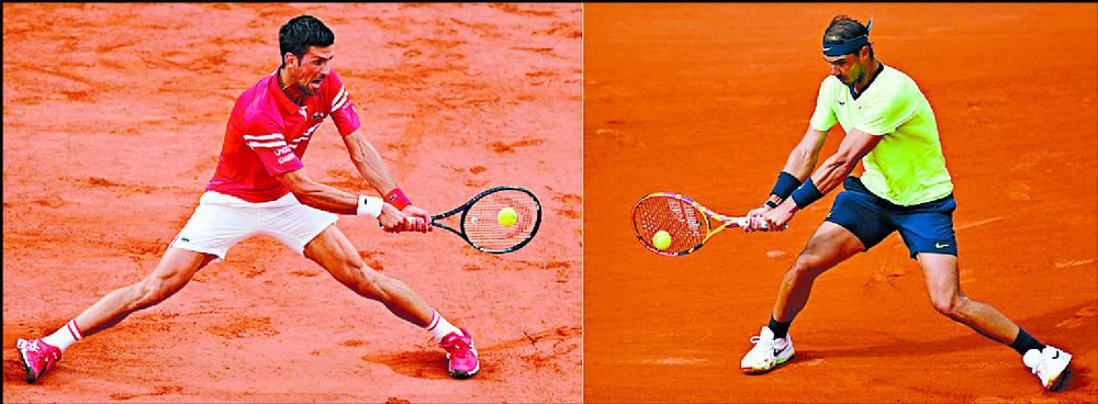 Novak Djokovic feels extra tension whenever he plays Rafael Nadal, right.    AFP