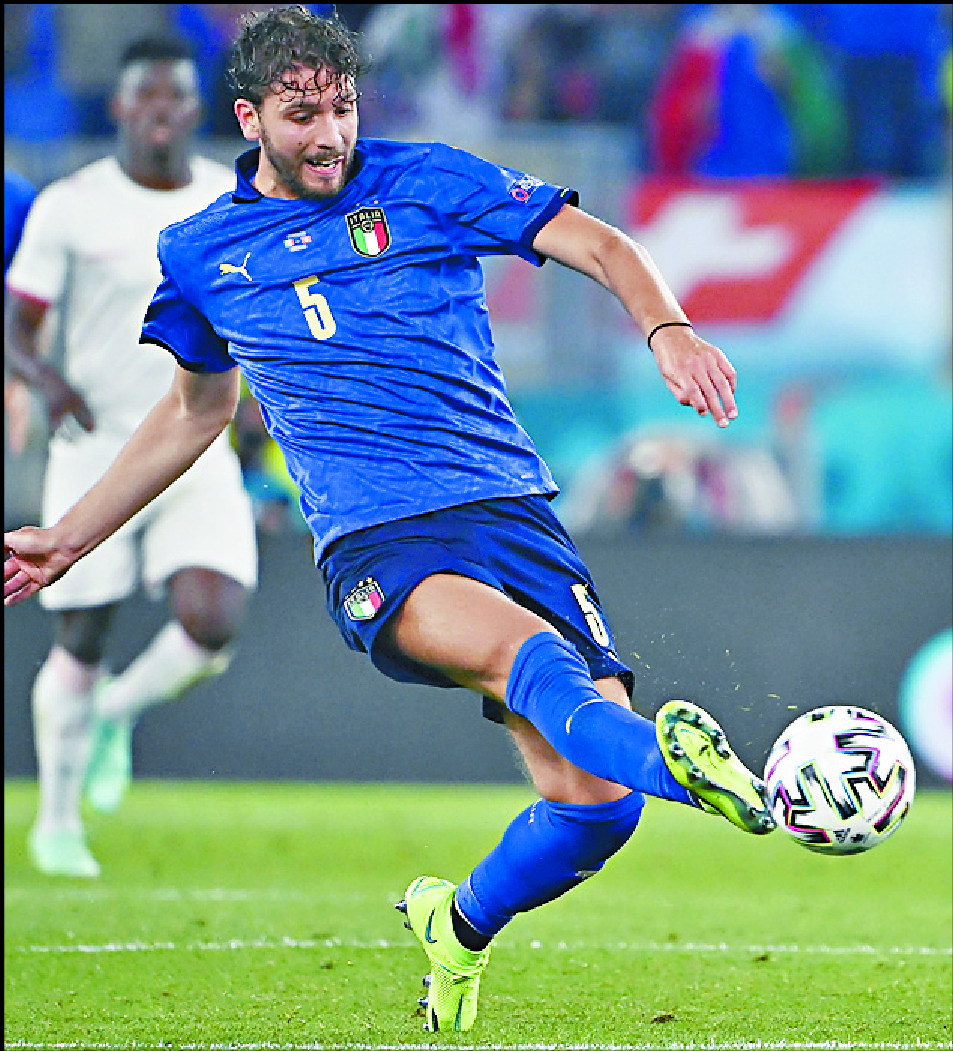 Manuel Locatelli grabbed a brace in Italy's 3-0 win over Switzerland. AP