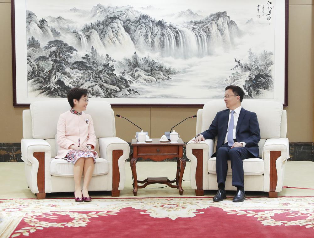 Carrie Lam meets with Han Zheng in Shenzhen.