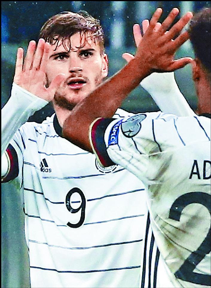 Timo Werner scored twice for Germany in Skopje. AP